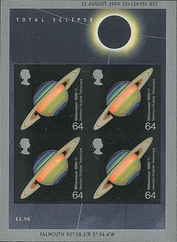 UK Eclipse imperfoarate miniature sheet