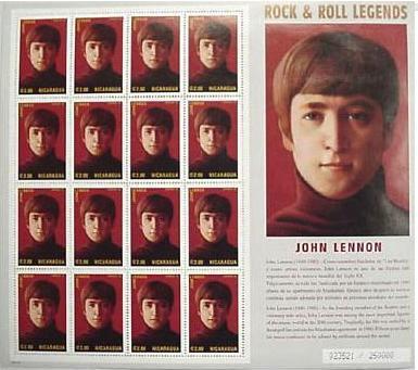 Nicaragua John Lennon sheetlet