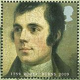 Robert Burns' portrait on 2009 Anniversary stamp